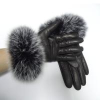 Buy cheap Sheepskin Womens Soft Leather Gloves Wool Lined Fox Fur Leather Gloves from wholesalers