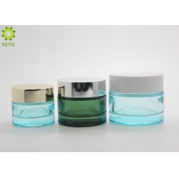 Buy cheap Custom Painting Transparent Green Blue 15ml 30ml 50ml Glass Cosmetic Cream Jar With Lid from wholesalers