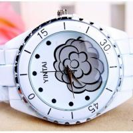 Buy cheap Ceramic Quartz Analog Metal Digital Watch Water-resistance , Flower Design from wholesalers