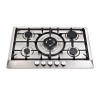 Stainless Steel Five Burner Gas Hob With Cast Iron Pan Supports / Auto Ignition