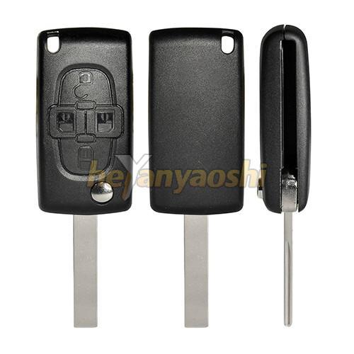 Buy cheap PSA Hu107t 4 Button Flip Key , Lock / Unlock Folding Remote Key Broken Proof from wholesalers