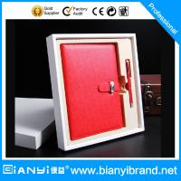 Buy cheap New Launch notebook gift set with pen stainless steel business card holder in red color from wholesalers