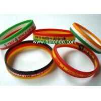 Buy cheap Custom silk print debossed embossed rubber silicone bracelet with logo print engrave ink filled silicone wristband from wholesalers