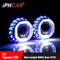 Iphcar wholesale car accessories universal projector headlight double angel eyes projector lens for H1 H7 H4 9005 car