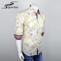 Buy cheap Roll Up Sleeve Men Woven Casual Shirts Button Printed Fashion Shirts With Collar from wholesalers