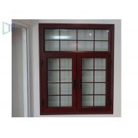 American Style Aluminium Casement Windows Grille Design Wood Grain Finish