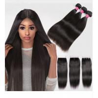 Buy cheap Silky Straight Remy Indian Human Hair Weave Bundles With Closure from wholesalers