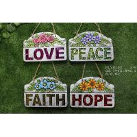 Buy cheap Portable Household Ceramics , Cement Garden Decoration With Wording Love Peace Faith Hope from wholesalers