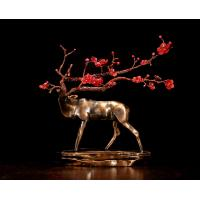 Buy cheap Handmade Creative Abstract Metal Cast Brass Sika Deer Statue with Plum Blossom Collectable Table decorations Sculpture from wholesalers