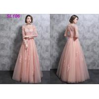Buy cheap Spring Elegantly Long Lace Prom Dresses , Pink Long Sleeve Prom Dresses from wholesalers