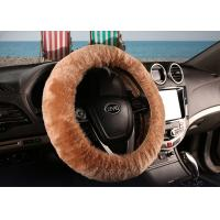 Buy cheap Brown Super Fuzzy Steering Wheel Cover , Real Soft Fur Car Accessories Wheel Covers  from wholesalers
