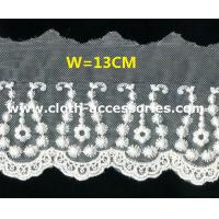 Buy cheap 5 Insertion Cotton Scalloped Edge Lace Trim Small Flower For Silk Blouse from wholesalers