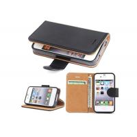 Buy cheap Shockproof iPhone 4 Leather Folio Cover / Customized Color Leather Wallet Case from wholesalers