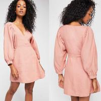 Buy cheap 2018 Fall V Neckline With Button Front And Puff Sleeve Mini Women Dress Cheap from wholesalers