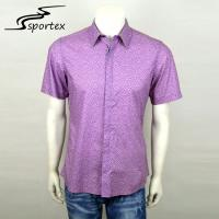 Buy cheap Plaid Printed Short Sleeve Fishing Shirts Purple Color Top Grade Cotton Materials from wholesalers