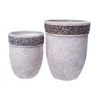 Buy cheap Contemporary Round Cement Garden Planters Cement Flower Pots For Courtyard / House from wholesalers