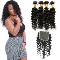 Natural Black Virgin Brazilian Hair Extensions , 4 Bundles Of Brazilian Hair