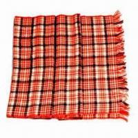 Buy cheap 100% Mercerized Wool Check Scarf, Available in Various Designs from wholesalers