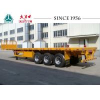 Buy cheap 40 Tons Flatbed Utility Trailer , 3 Axles Flat Deck Trailer With Front Wall from wholesalers