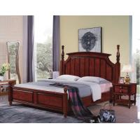 Buy cheap Tall headboard $200/set Walnut painting Rubber Wood Bedroom Furniture set in Pine bedboard from wholesalers