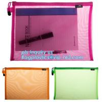 Buy cheap PVC Netting Ziplock Document Bag with Pocket, A4 Size ladies plastic document bag for student, Netting surface PVC pen f from wholesalers