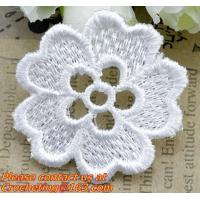 Buy cheap white flower Embroidery Lace patch motif applique trim headband hair bow garment clothing from wholesalers