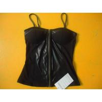 Buy cheap Sexy Black Spaghetti Strap Top , PU Leather Bust Pad Inside Ladies Zip Up Tops from wholesalers