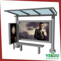 Buy cheap Ourdoor advertising bus stop station with Tempered glass panel, LED light box stainless steel Bus shelter from wholesalers