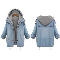 Buy cheap Cheap Plus size drawstring twinest hooded outwear denim coat for women from wholesalers