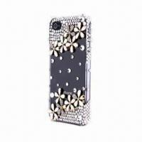 Buy cheap Shining Bling Crystal Diamond Flower Figure Hard Case Skin Cover for iPhone 4/4S from wholesalers