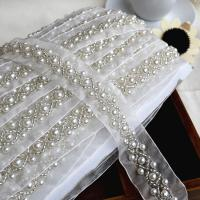 Buy cheap Craft Braided Beaded Fake Pearls Rhinestones Trim Embroidered Lace Ribbon Trim Costume Applique Sewing on Trim 1cm from wholesalers