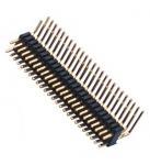 Buy cheap Dual Row Pin Header 1.27*2.54 Right Angle Dual Row 90° DIP 50 Pin Header PA9T black ROHS from wholesalers
