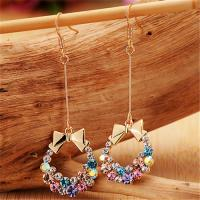 Buy cheap Fashion Jewelry Buy from China Alibaba Supplier Imitation Crystal Earrings for Women Colorful Bow Earrings Long Chain from wholesalers