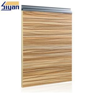 Wood grain modern bathroom cabinet doors sliding open with for Wood grain kitchen doors