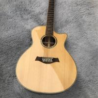 Buy cheap Custom 41 Inches Solid Spruce Top Cutaway Rosewood Back 12 Strings 814 Electric Acoustic Guitar from wholesalers