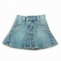 Buy cheap Women's Washed Denim Skirt with Fashionable Design, Made of 100% Cotton from wholesalers
