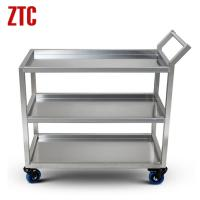 Buy cheap Three shelf metal trolley,stainless steel cart trolley,heavy duty stock cart with wheels from wholesalers