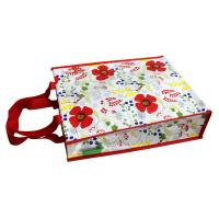 Buy cheap Waterproof 140g Red Flower Shining PP Shopping Bag With Nylon Handle, Customized Logo from wholesalers