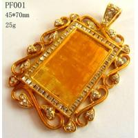 Buy cheap Rhinestone 18k Ip Gold Plated Copper Photo Frame Necklace Pendant from wholesalers