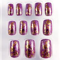 Buy cheap Healthy Pre Glued Acrylic Fake Nails with glitter printing , decorated product