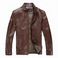 Buy cheap Brown Leather Jacket/Coat, Customized Cheap Classic, Long Sleeve Stylish Dark  from wholesalers