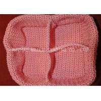 Buy cheap Pink Crochet Rectangle Basket Four Compartments Cable Crochet Flower Basket from wholesalers