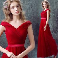 Buy cheap Sexy Deep V Neck Red Elegant Lace Up Evening Dresses TSJY026 from wholesalers