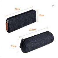 Buy cheap Dark Gray Felt Pencil Pouch Bag Round Shape Pencil Bags For Teens from wholesalers