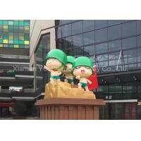 China Smooth Surface Shopping Center Decorations Fiberglass Soldier Sculpture With Green Hat on sale
