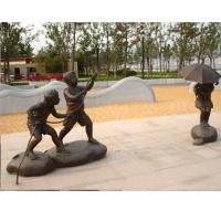 Buy cheap Bronze Children in park fly a kite Statue Sculpture for Garden Decoration from wholesalers