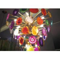 Buy cheap Indoor Decoration Natural Stone Crafts Metal Plated Agate Lamp Set from wholesalers