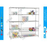 Buy cheap Chrome Wire Shelves Customized Silver Mobile Wire Shelving for Cosmetic Store from wholesalers