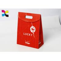 Buy cheap Sticky Magic Flap Personalised Paper Bags For Weddings , Solid Red Promotional Paper Carrier Bags from wholesalers