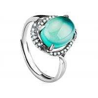 Buy cheap Customized Sterling Silver Rings Faceted Green Agate Ring With Wax Micro Pave Faceted from wholesalers